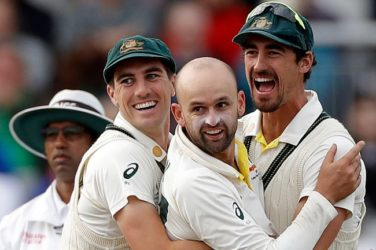 Nathan Lyon celebrates Ashes victory for Australia.