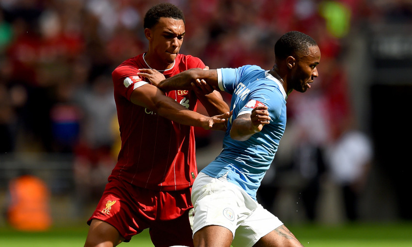 Trent Alexander-Arnold tussles with Raheem Sterling