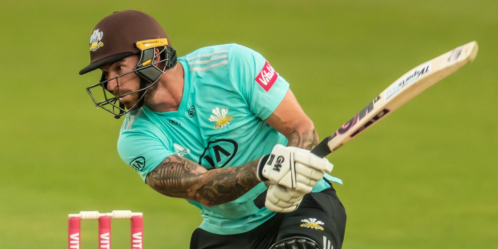 Jordan Clark batting for Surrey at The Oval