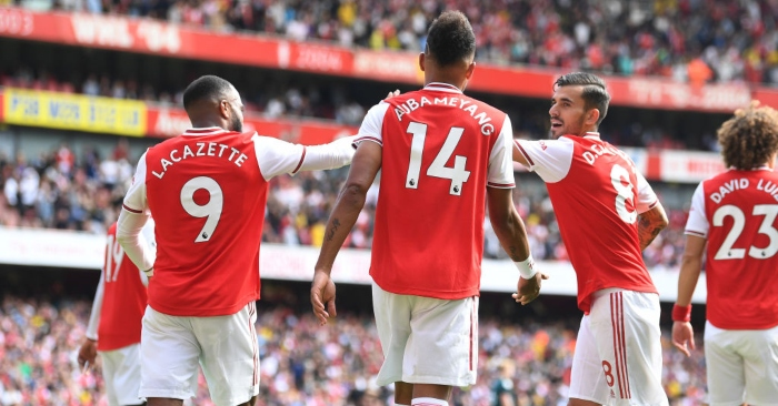 Lacazette, Aubameyang and Ceballos celebrate a goal for Arsenal
