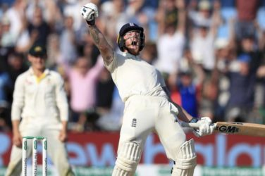 Ben Stokes celebrates the Ashes 3rd Test Victory.
