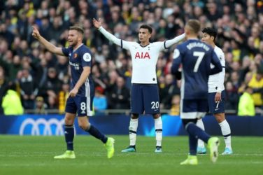 Dele Alli celebrates for Spurs against Watford