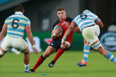 Owen Farrell in action against England