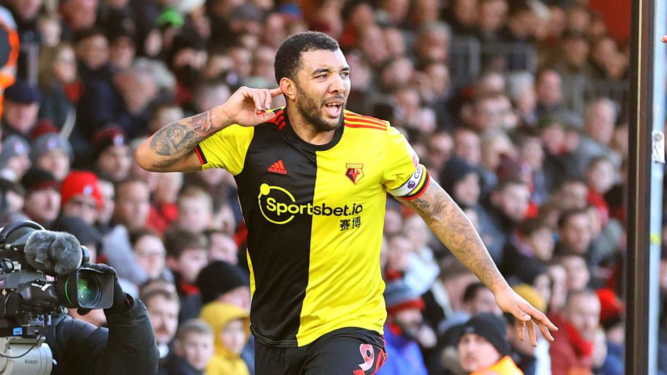 Troy Deeney celebrates scoring for Watford against Bournemouth