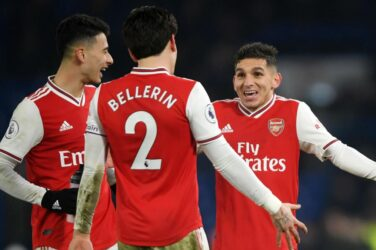 Hector Bellerin, Lucas Torreira and Gabriel Martinelli of Arsenal.