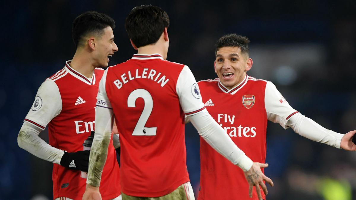 Hector Bellerin, Lucas Torreira and Gabriel Martinelli of Arsenal.