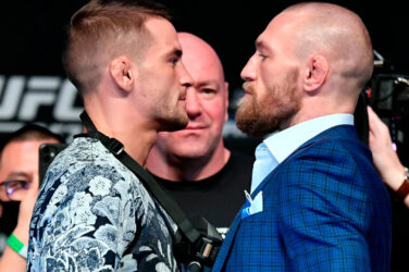 Conor McGregor and Dustin Poirier face off ahead of UFC 257