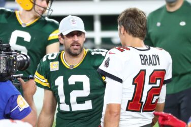 Aaron Rodgers and Tom Brady after a regular season game.
